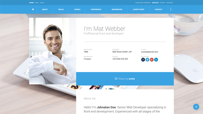 I'm Mat - Material Personal Resume vCard Template